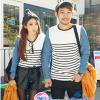เสื้อคู่ เสื้อคู่รัก ชุดคู่รัก เสื้อคู่รักแขนยาวเกาหลี ผู้หญิง + ผู้ชาย เสื้อยืดกึ่งเสื้อเชิ้ตแขนยาว สีขาวลายเส้นขวางสีดำ แขนเสื้อผ้ายีนส์นิ่มดีไซน์แบบแขนเสื้อเชิ้ต