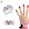 แหวนเงิน ประดับเพชร CZ แหวนลายตารางหมากรุก ประดับเพชรสี่เหลี่ยมชมพูสลับเพชรกลมขาว เพิ่มความละเอียดหรูหรา สวยงามไม่เหมือนใคร ใส่ออกงานได้ไม่มีเบื่อ
