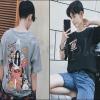 PRE-ORDER เสื้อยืดแฟชั่นแบบใหม่ เสื้อยืดหลวมแขนสั้นสไตล์จีนย้อนยุค แบบเรียบสุดเท่ห์