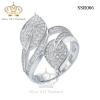 แหวนเพชร ประดับ เพชรCZ แหวนไขว้ทรงใบไม้ ฝังเพชรแวววาว งานประณีต สวยหรูดูแพง งานเวอร์วังอลังการ ใส่ติดนิ้วได้ทุกงาน รับรองไม่ซ้ำใครแน่นอน