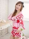 พร้อมส่ง / กิโมโนสีชมพูญี่ปุ่นเสื้อคลุมอาบน้ำ