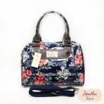 กระเป๋า Chalita wu + สายสะพาย สีกรม ลายดอกไม้