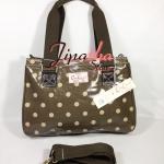 กระเป๋า Chalitawu 2 ช่อง + สายสะพาย ทรงเหลี่ยม สีน้ำตาล ลายจุด