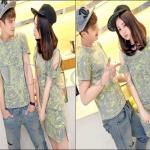PRE-ORDER ชุดคู่รักเกาหลีใหม่ แฟชั่นฤดูร้อนเนื้อผ้าฝ้ายพิมพ์ลายออกแบบแนวๆ ญ.เดรสสั้น/ช.เสื้อยืดแขนสั้น