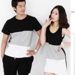 ชุดคู่รัก เสื้อคู่รักเกาหลี เสื้อผ้าแฟชั่น ชุดคู่รัก Colorful ผู้ชาย-เสื้อยืดสีสัน 3 โทน ผู้หญิง-เดรสสีสันสวย สะดุดตา สีดำ-เทาขาว ผลิตจากผ้าฝ้ายคุณภาพสูง 100% เนื้อผ้านิ่ม ใส่สบาย