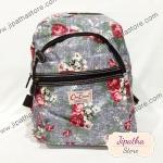 กระเป๋าเป้ Chalita wu สีเทา ลายดอกไม้