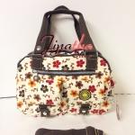 กระเป๋าถือ+สะพาย Lingky สีขาว ลายดอกซากุระ