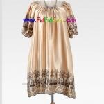 fh003- ชุดเดรสไซส์ใหญ่ ผ้าซาตินสีทอง แขนตุ๊กตาทรงโต งานปักช่วงแขนและช่วงชาย สวยหรูสุดๆเลยค่ะ รอบอก 46+ นิ้ว