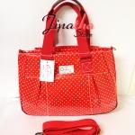 กระเป๋า Chalita wu + สายสะพาย ทรงกระโปรงใบใหญ่ สีแดง ลายจุด