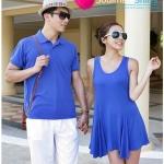 เสื้อคู่ เสื้อคู่รัก ชุดพรีเวดดิ้ง ชุดคู่รัก เสื้อคู่รักเกาหลี เสื้อผ้าแฟชั่น ผู้ชาย เสื้อคอสีน้ำเงินสดใส + ผู้หญิง เดรสแขนกุดสีน้ำเงินสดใส เหมาะสำหรับใส่เที่ยวทะเล เดินเล่นวันชิว ชิว ถ่ายพรีเวดดิ้ง