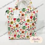 กระเป๋า Chalita wu สีขาว ลายหลากสี