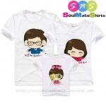 เสื้อครอบครัว ชุดครอบครัว เสื้อ พ่อ แม่ ลูก สีขาว ลาย Dad Mom & Daughter [ลาย ลูกสาว] ผลิตจากผ้าคอตตอน 100%