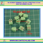 10x SCREW TERMINAL BLOCK 2 PINS Pitch 3.5 mm 300V/10A GREEN COLOR