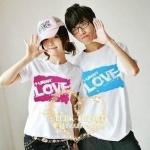 เสื้อคู่รัก ชุดคู่รัก เสื้อคู่ เสื้อยืดคู่รักผ้าฝ้าย สกรีนลาย LOVE