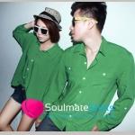 ชุดคู่รักเกาหลี เดรสคู่รัก ชาย-หญิง เสื้อเชิ๊ตผ้าฝ้าย เนื้อนุ่ม สีเขียว
