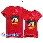 เสื้อคู่รัก ลายน่ารัก พร้อมส่ง CS 0155 RED