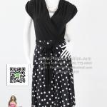 bw268 - ชุดเดรสทูโทนขาวดำ ผ้าเกาหลีแขนล้ำ ช่วงกระโปรงผ้าพิมพ์ลายจุดใหญ่ขาว สวยเรียบร้อยค่ะ