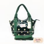 กระเป๋า Chalita wu + สายสะพาย 8 นิ้ว สีเขียวเข้ม