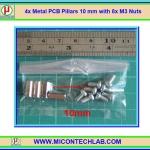 4x เสารองแบบเหลี่ยม 10 มม. 8x สกรู M3 (Pillars 10 mm)