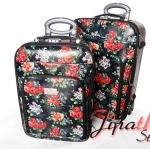 กระเป๋าเดินทาง มีคันชักและล้อลาก สีดำ ลายดอกไม้