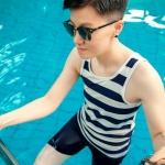 พร้อมส่ง ชุดว่ายน้ำทอมแฟชั่นใหม่ เสื้อกล้ามเต็มตัวมาพร้อมกับกางเกงขาสั้น ชุดว่ายน้ำสำหรับทอมโดยเฉพาะ #สีน้ำเงิน #SizeM