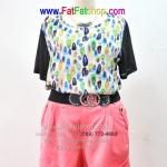 fa009-52-ชุดคนอ้วน Mix & Match เสื้อผ้าซีฟองพิมพ์ลายสดใส กางเกงผ้าลินินสีชมพู สวยน่ารักเข้าชุดกันดูดีสุดๆเลยค่ะ รอบอก 52 นิ้ว