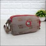 กระเป๋าคล้องมือ Lingky ผ้าทอ สีน้ำตาลขอบแดง