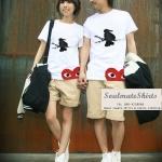 : เสื้อคู่รัก ชุดคู่รัก เสื้อคู่ เสื้อยืดคู่รักผ้าฝ้าย สีขาว ลายแม่มด PLAY