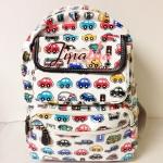 กระเป๋าเป้ Chalita wu สีขาว ลายรถ