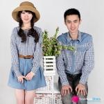 ชุดคู่รัก เสื้อคู่รักเกาหลี เสื้อผ้าแฟชั่น ชุดคู่รักคาวบอย ชายเสื้อเชิ๊ตลายสก๊อตสีฟ้า  หญิงเดรสเสื้อเชิ๊ต กระโปรงยีนส์ สวย น่ารัก