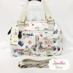 กระเป๋า Chalita wu + สะพาย สีขาว ลายลูกโลก