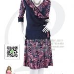 hd1832 - ชุดเดรสแขนสามส่วน ผ้าเกาหลีแต่งระบายคอ ผ้าสีกรมพิมพ์ลายเชิง ซับในช่วงกระโปรง สวยสุดๆเลยค่ะ