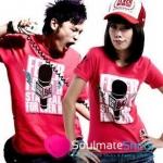 เสื้อยืดคู่รัก ชุดคู่รัก เสื้อคู่ เสื้อคู่รักเกาหลี เสื้อยืดคู่รักผ้าฝ้าย สีแดงลายการ์ตูนน่ารัก