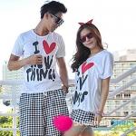 เสื้อคู่ เสื้อคู่รัก ชุดคู่รัก  เสื้อยืดคู่รักผ้าฝ้าย ผู้ชาย +ผู้หญิง เสื้อยืดสีเทา ผลิตจากผ้า cotton 100% สกรีนลาย I Love You
