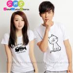 เสื้อคู่รัก ชุดคู่รัก เสื้อคู่ เสื้อยืดคู่รัก สีขาว ลายแมว & ก้างปลา ผลิตจากผ้าคอตตอน 100 %