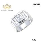 แหวนผู้ชาย ประดับเพชรCZ แหวนเพชรทรงสี่เหลี่ยม ข้างๆฝังเพชรแทปเปอร์ ดีไซน์แมนๆเท่ไม่เหมือนใคร สวมใส่สบาย เพื่อให้คุณสามารถเดินอย่างมั่นใจ
