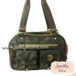 กระเป๋าถือ+สะพาย ผ้าทอ Lingky สีเขียวเยี่ยวม้า