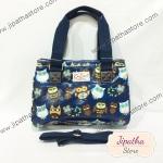 กระเป๋า Chalitawu 2 ช่อง + สายสะพาย ทรงเหลี่ยม สีกรม ลายนกฮูก