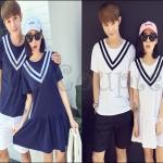 PRE-ORDER ชุดคู่รักเกาหลีใหม่ เนื้อผ้าฝ้ายยืดออกแบบน่ารักๆ ญ.เดรสสั้น/ช.เสื้อยืดแขนสั้น