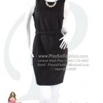bw233 - ชุดเดรสดำแขนกุดผ้าเพอร์กิ้น พร้อมเข็มขัดผ้า งานเย็บเนี๊ยบ พร้อมซิบซ่อนด้านหลัง สวยสไตล์สาวทำงานค่ะ