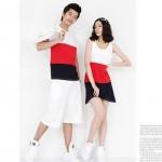 ชุดคู่รัก เสื้อคู่รักเกาหลี เสื้อผ้าแฟชั่น ชุดคู่รัก Colorful ผู้ชาย เสื้อยืดสีสัน 3 โทน ผู้หญิง เดรสสีสันสวย สะดุดตา มี 2 สี ขาว-แดง-ดำ และ ดำ-เทาขาว
