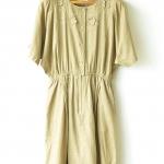 """[QC] Vintage Khaki-color Linen Dress (Waist 26-32"""")"""
