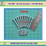 10x สกรูหัวกลม M3 ยาว 30 มม. +น็อตตัวเมีย (M3* 30mm Screws)(M)