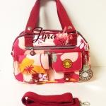 กระเป๋าLingky + สะพาย สีชมพู ลายชบา