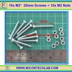 10x M3* 25mm Screws + 10x M3 Nuts (สกรูหัวกลม+น็อตตัวเมีย ขนาด 3มม ยาว 25มม)