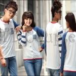 พร้อมส่ง เสื้อคู่รักน่ารัก เกาหลีใหม่เนื้อผ้าฝ้ายหนาเนื้อนิ่ม (CP-042) ญ.M/ช.L