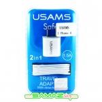 ราคาพิเศษ หัวชาร์จ iPhoe4,4s พร้อมสาย USAMS แบบ USB Output 1.5A รองรับ iOS 7 ของแท้ 100%
