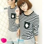 เสื้อคู่รัก ชุดคู่รัก เสื้อคู่ เสื้อยืดกึ่งแขนยาว ลายขวาง ผ้ายืดนุ่ม ดีไซน์สไตล์เกาหลี