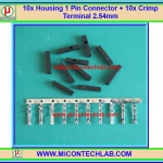 10x Housing 1 Pin Connector + 10x Female Crimp Terminal 2.54mm