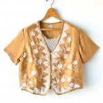 "Vintage Embroidery Lace Golden Blouse (Bust 40"")"